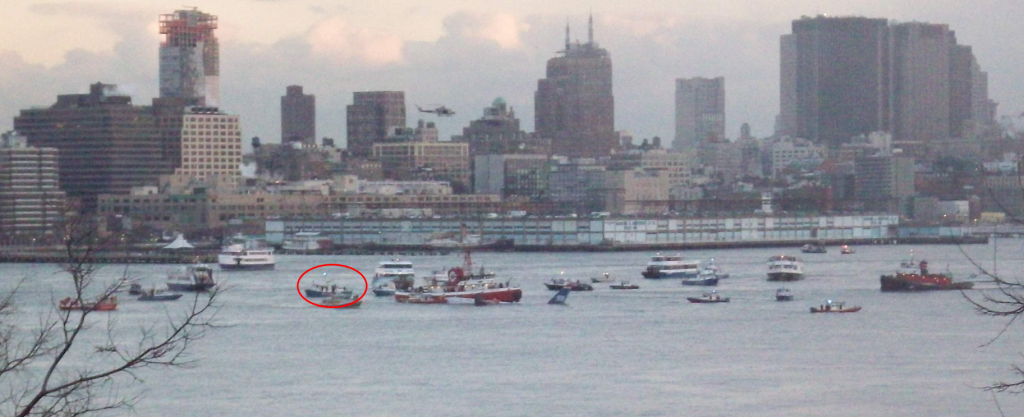 NYPD RB-M C boat in Husdon River Harbor helping with rescue for US Airways Flight 1549 crash.