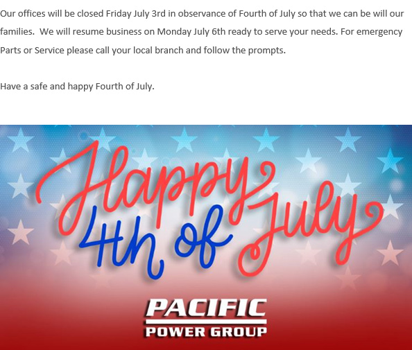 4th of July closure info